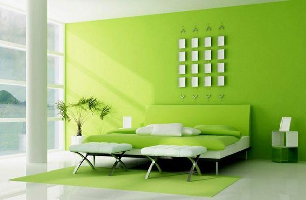 grüne-wandgestaltung-für-schlafzimmer-luxuriöse-ausstattung Green