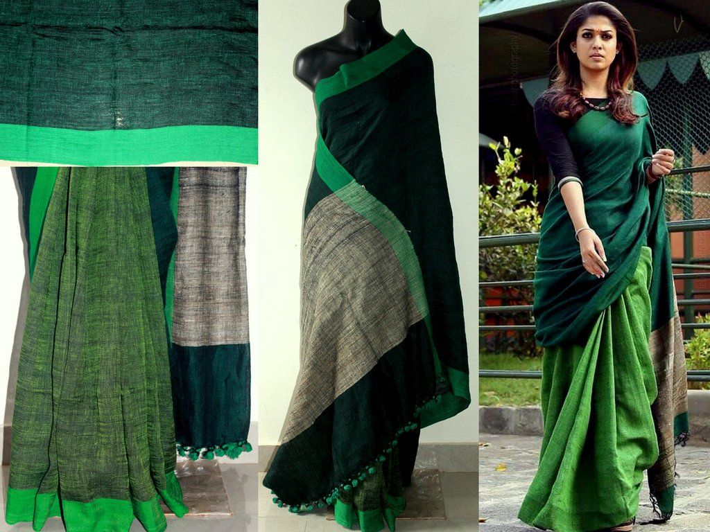 df659066522657 Linen nayan saree | Simple sarees | Saree, Green saree, Jute sarees