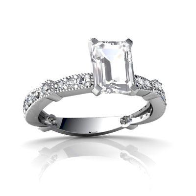 White Topaz Engagement Ring - 14k White Gold      $499.00