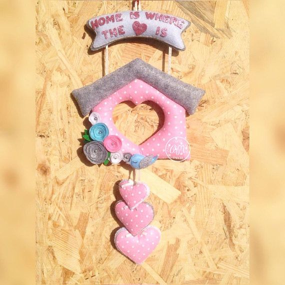 Home Sweet Home, Wall Decoration With Hearts, Felt Home Decor, Home ...