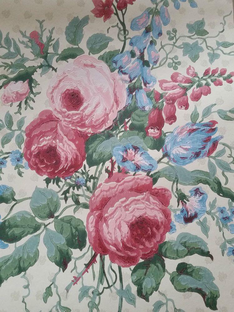 SANDERSON WALLPAPER PEMBERLEY WR8246/1 ROSES FLORAL BLUE