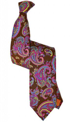 Stanley Lewis Venezia Men's Printed Paisley Tie (Chocolate) Handmade in Italy from 100% Woven Silk. Premium quality woollen interlining. The blade measures 3.6  The length is 56.8  The weight is 1.70oz. Perfectly presented in the renowned handmade box tied with satin ribbon. FREE Standard Shipping.  #Stanley_Lewis #Apparel