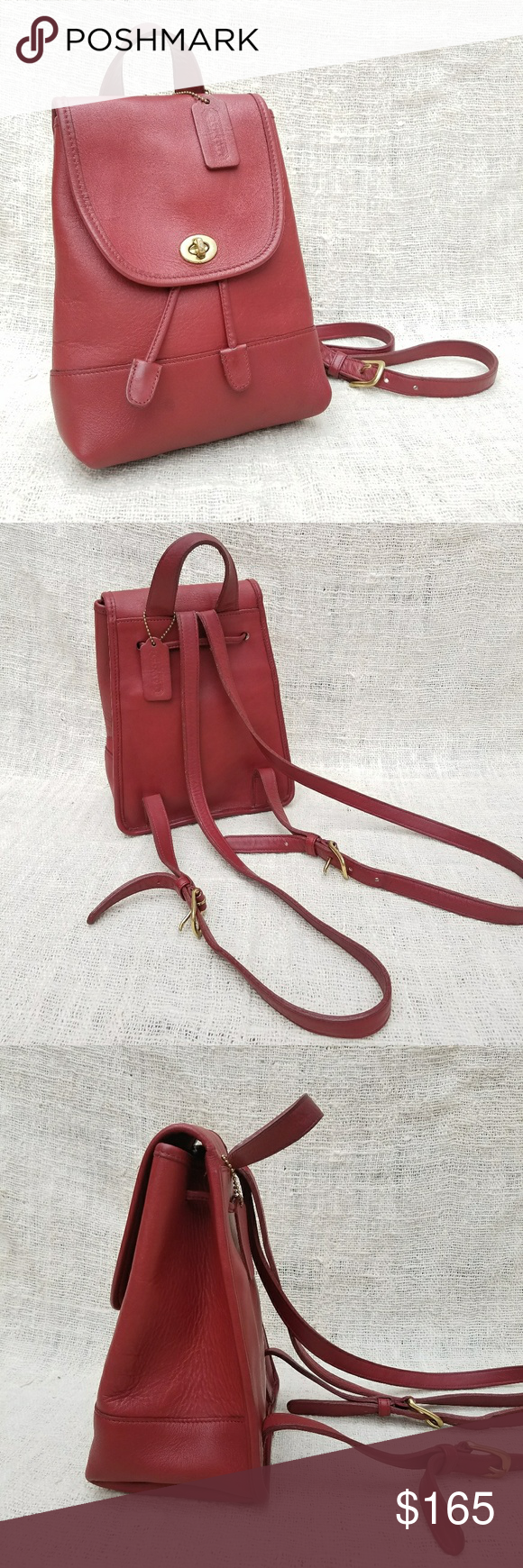5db46975ded40 Vintage Coach Red Leather Mini Backpack Daypack Beautiful vintage Coach red  leather back pack! Brass