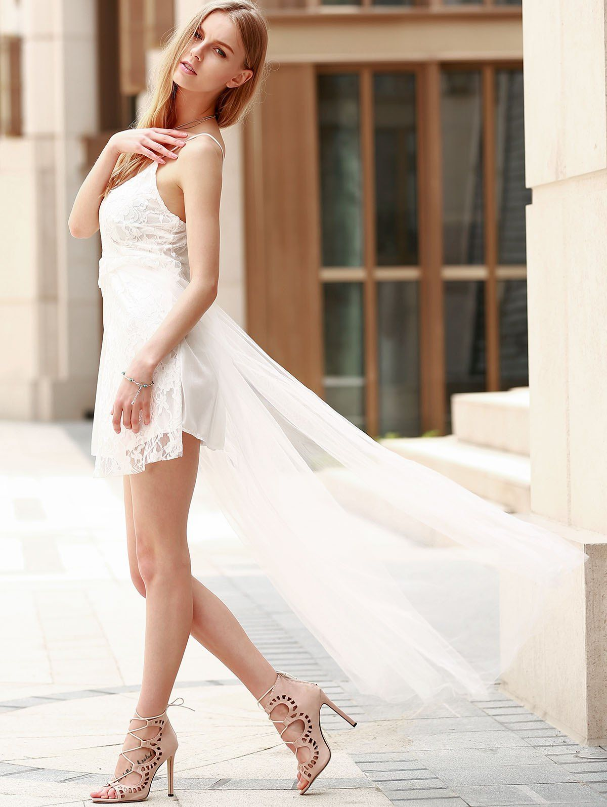 Lace panel maxi high low backless prom dress white s