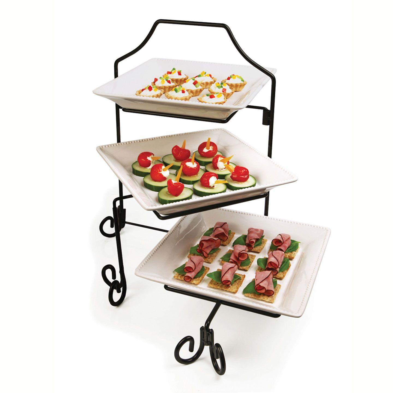 3 LAYER METAL SERVING DISPLAY CAKES PLATTER FOOD STAND RACK