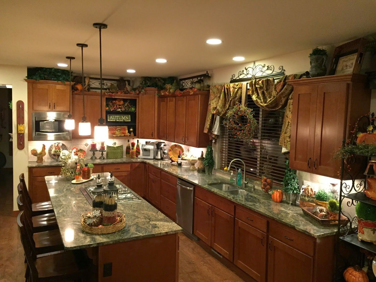 The Tuscan Home New Chandelier Decorated For Fall This kitchen