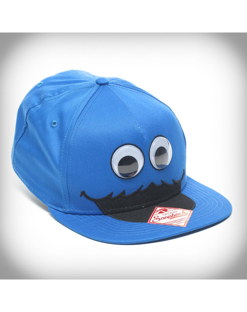 06e2da4e Sesame Street Cookie Monster's face with googly eyes snapback ...