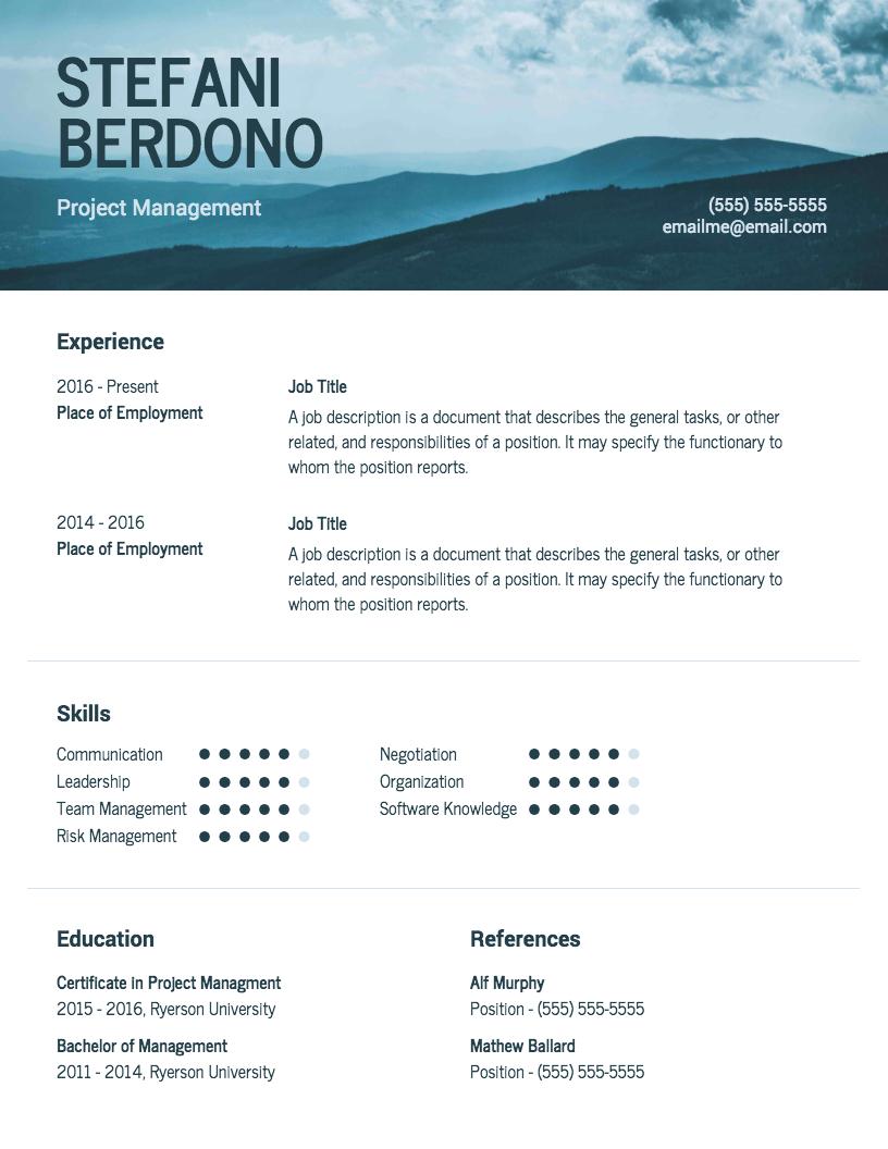 Free Resume & CV Maker Get started in minutes Modern