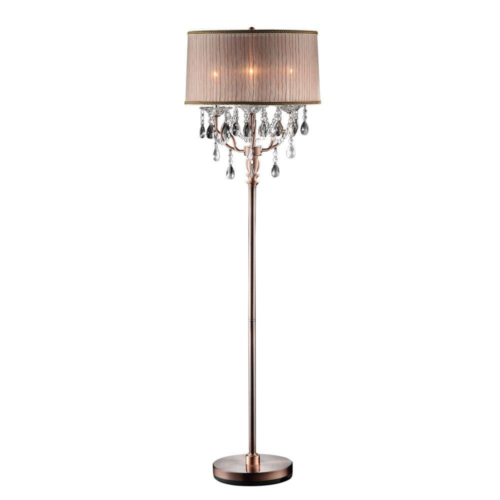 Home Depot Lamp Shades Ok Lighting 62 Inantique Rosie Crystal Floor Lamp  Floor Lamp
