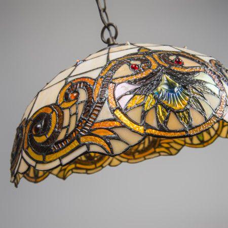 Lámpara colgante TIFFANY Sunflower 1 - Preciosa lámpara colgante con una cubierta hecha a mano de acuerdo con el estilo de Tiffany. Este artículo está hecho de muchas piezas de vidrio soldadas entre ellas con tiras de cobre sobre una base de aluminio fundido y lacado. Cada lámpara es única.