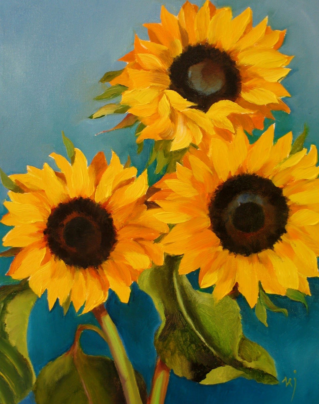 easy sunflower paintings small black dots - Google Search ...