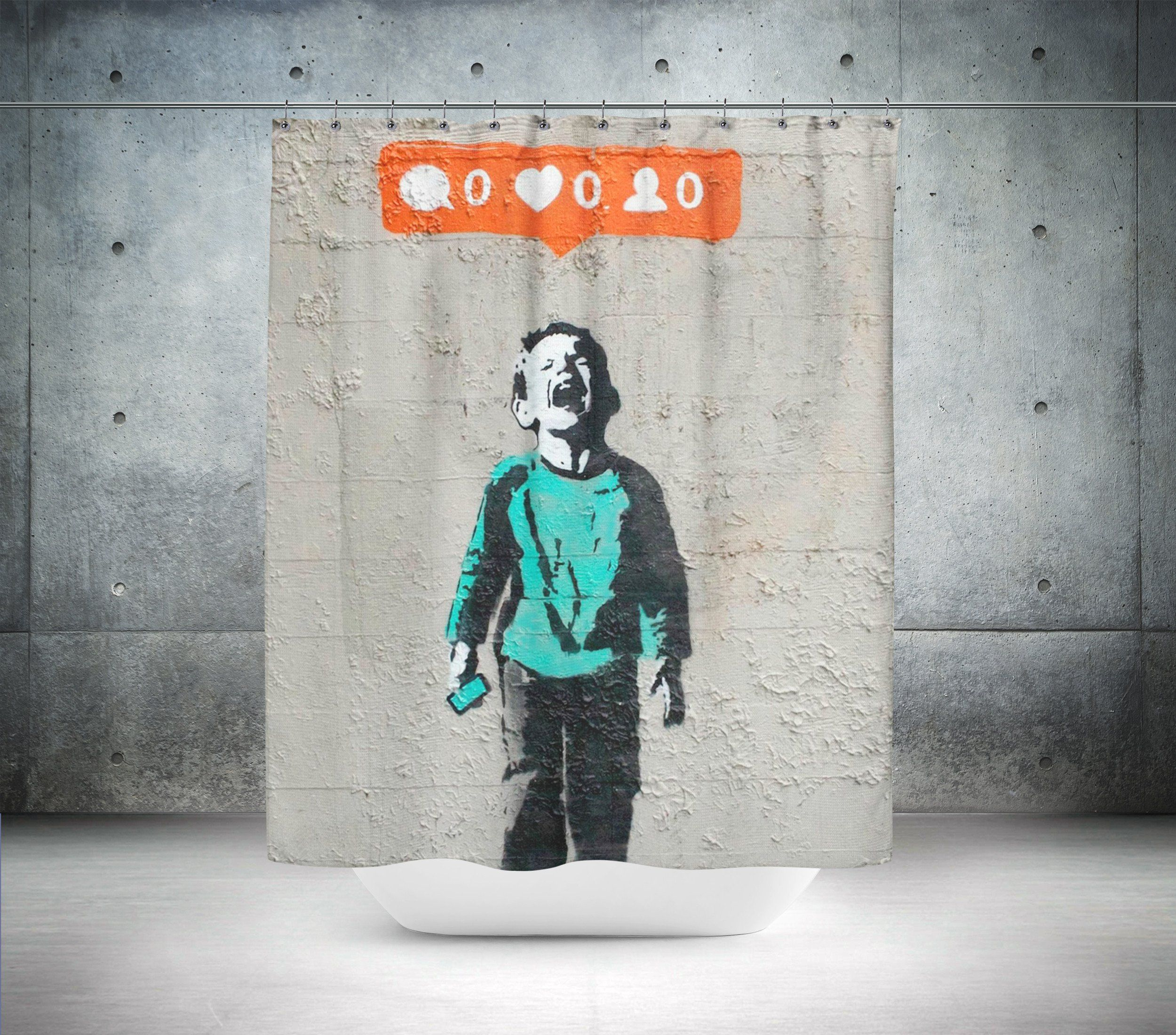 New Banksy Streetart Kid Crying Because Hes Not Getting Any Social Media Attention Clean Up And Customize