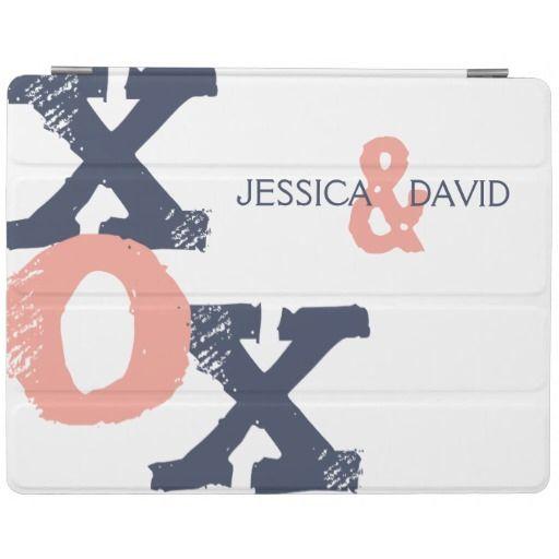 Blue and Pink XOX Wedding iPad Cover