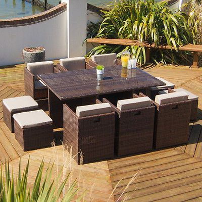 Rattan Garden Furniture Set 6 10 Person Outdoor Patio Dining Wicker Table Cube