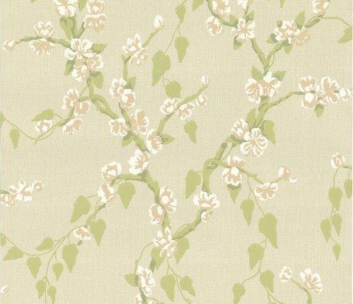 Sakura Pomme Green Floral Wallpaper Floral Wallpaper Leaf Wallpaper