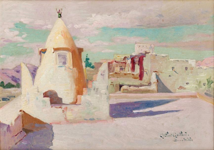 Gilbert GALLAND (1870-1956) Les terrasses de Bou Saâda Huile sur toile marouflée sur carton, signée en bas à droite. 21 x 29 cm - Gros & Delettrez - 15/12/2014