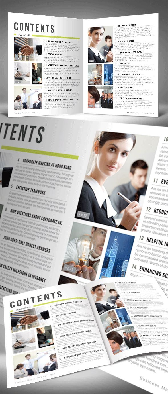 Automatic Magazine Table of Contents InDesign Template | magazine ...
