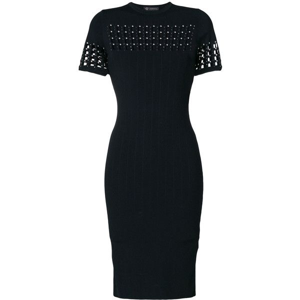 perforated ribbed dress - Black Versace Official Site Cheap Online efnrwm3CIn