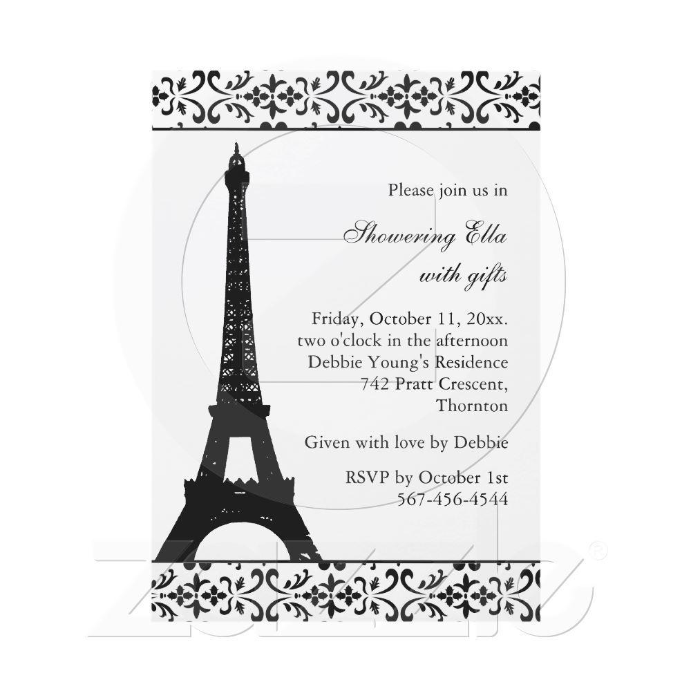 Tres paris bridal shower white invites from for Paris themed invitations bridal shower