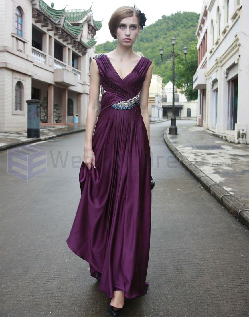 Aline satin cross over pleated bodice vneck neckline prom dress p