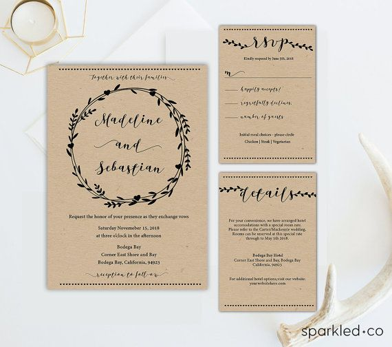 Rustic Wreath Wedding Invitation Template Rustic Wedding - Diy rustic wedding invitations templates
