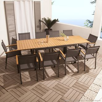 Salon Jardin 10 Places Alu Composite Table Extensible 10