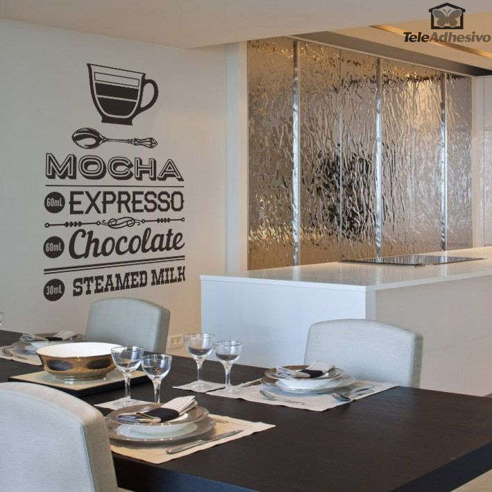 Adesivi murali coffee mocha adesivi murali di cucina kitchen wall decals cafe wall y - Vinilos decorativos bilbao ...