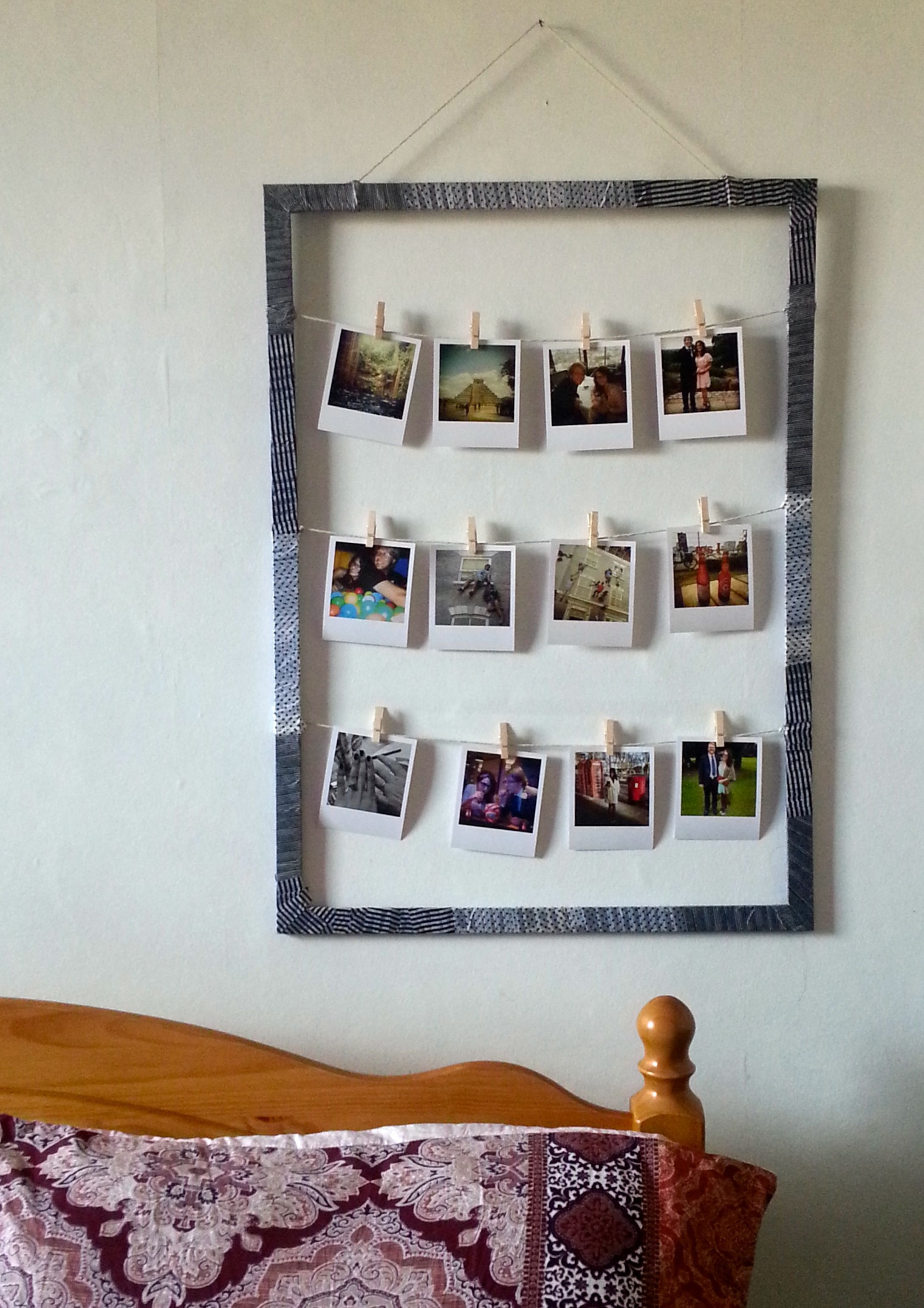 DIY frame with patterned tape to display polaroid style pictures on ...