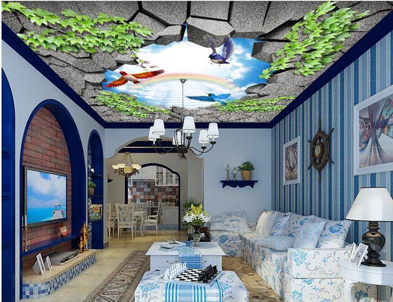 Papier Peint Plafond Trompe L Oeil plafond 3d peintures murales de papier peint personnalisé photo