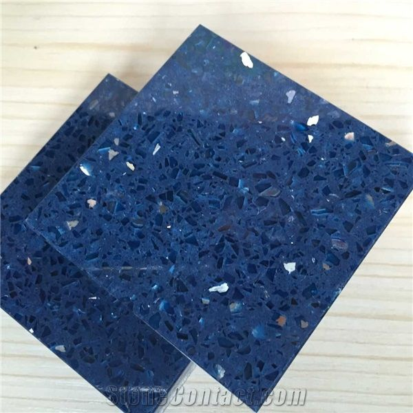 Sparkle Blue Quartz Stone With Bright Surfaces For Prefab Countertops Your First Kitchen Coun Prefab Countertops Kitchen Countertop Options Sparkle Countertops
