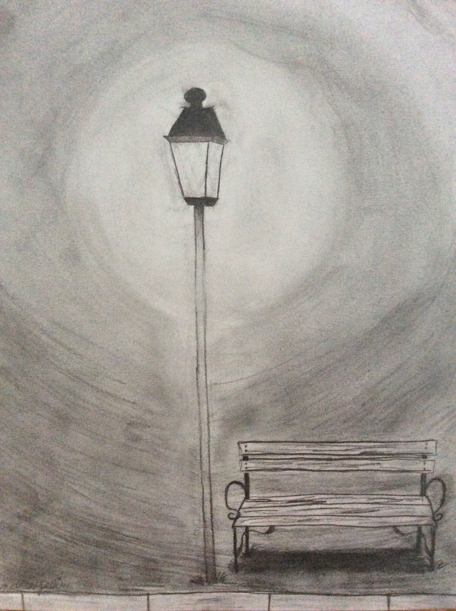 Park Bench Under Street Lamp In The Night Pencil Drawing