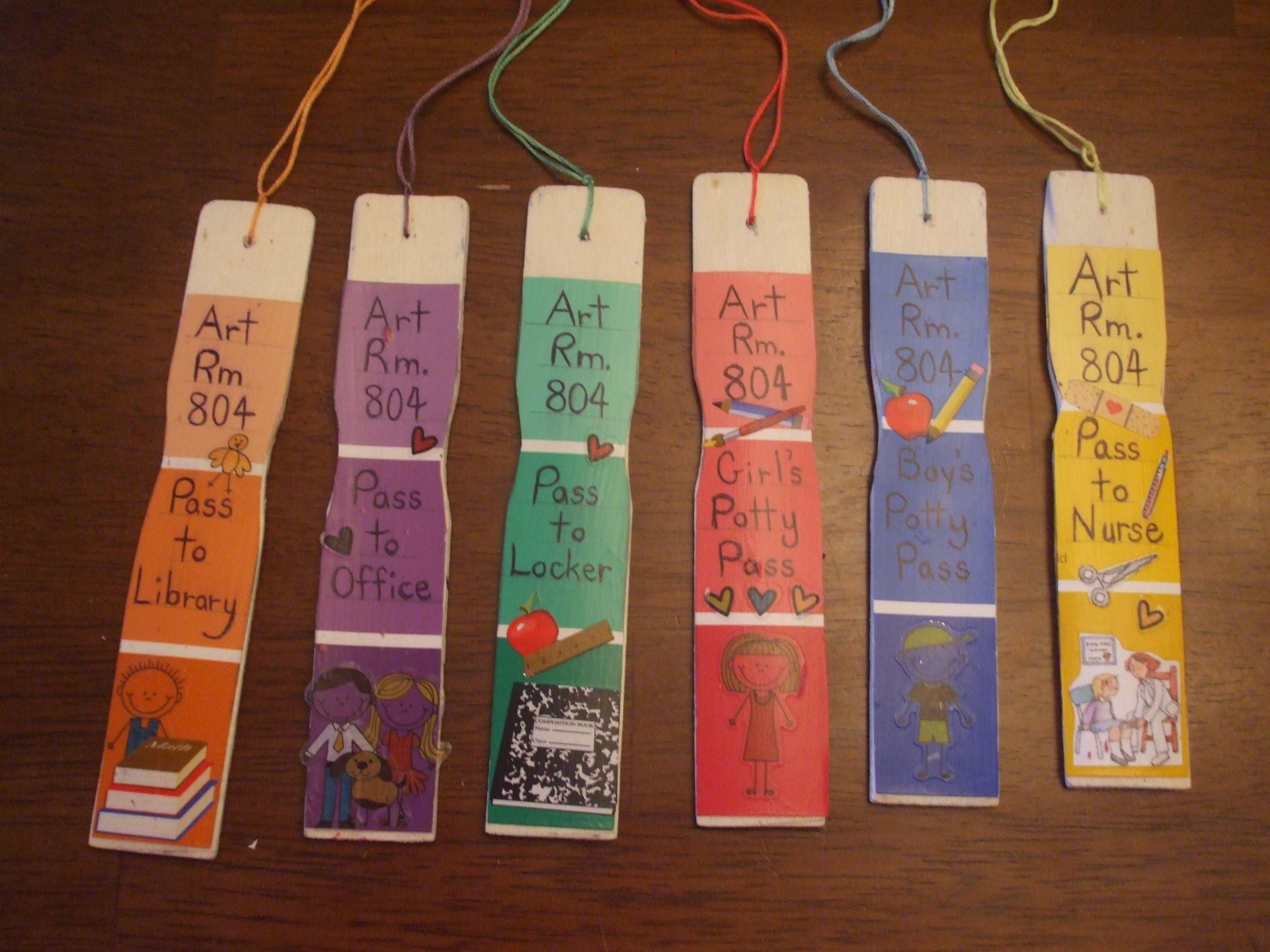 Teacher hall passes: Glue paint samples to paint stirring sticks