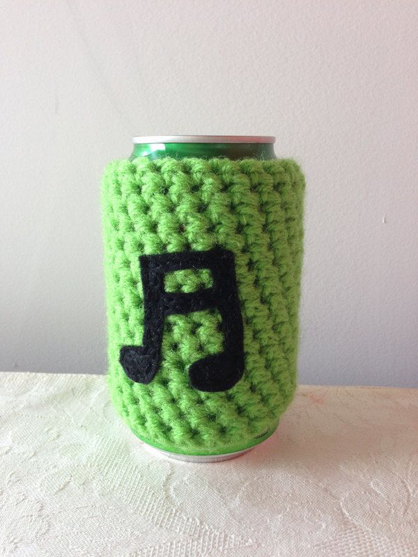 Music Note Crochet Beer Koozie In Lime Green Coffee Cup Cozy