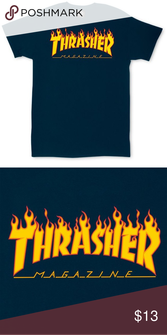 bae2dce9f12 Thrasher Flame Logo T-Shirt (Navy) Heavyweight
