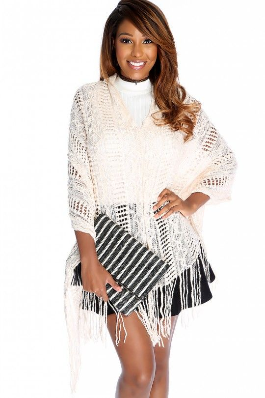 3d0ca3b089f69 Sexy Nude Open Knit Fringe Hem Swimsuit Cover Up