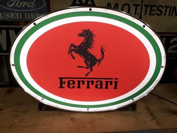 Ferrari Dealer Wall Sign Garage Automobilia Vintage Classic Car Light Box Display Advertising Light Up Plaque Collectors Art Decor Italian