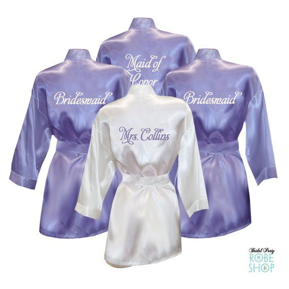 Set of 9 Personalized Satin Robes with Embroidery on Back ... 02812e60d