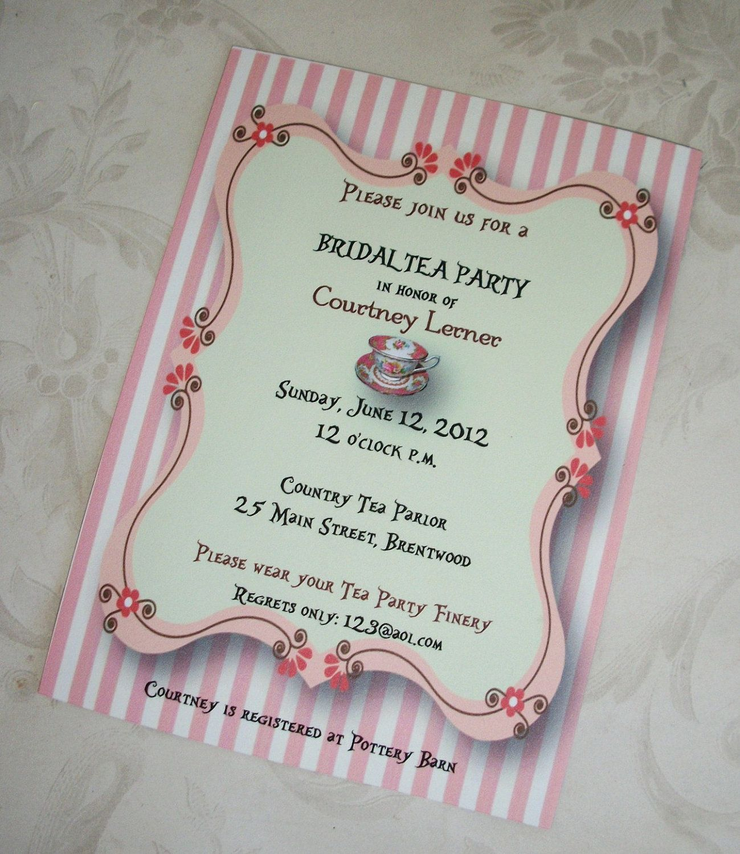 tea party bridal shower wedding shower custom teacup stripes pink set of 25 invitations tpa
