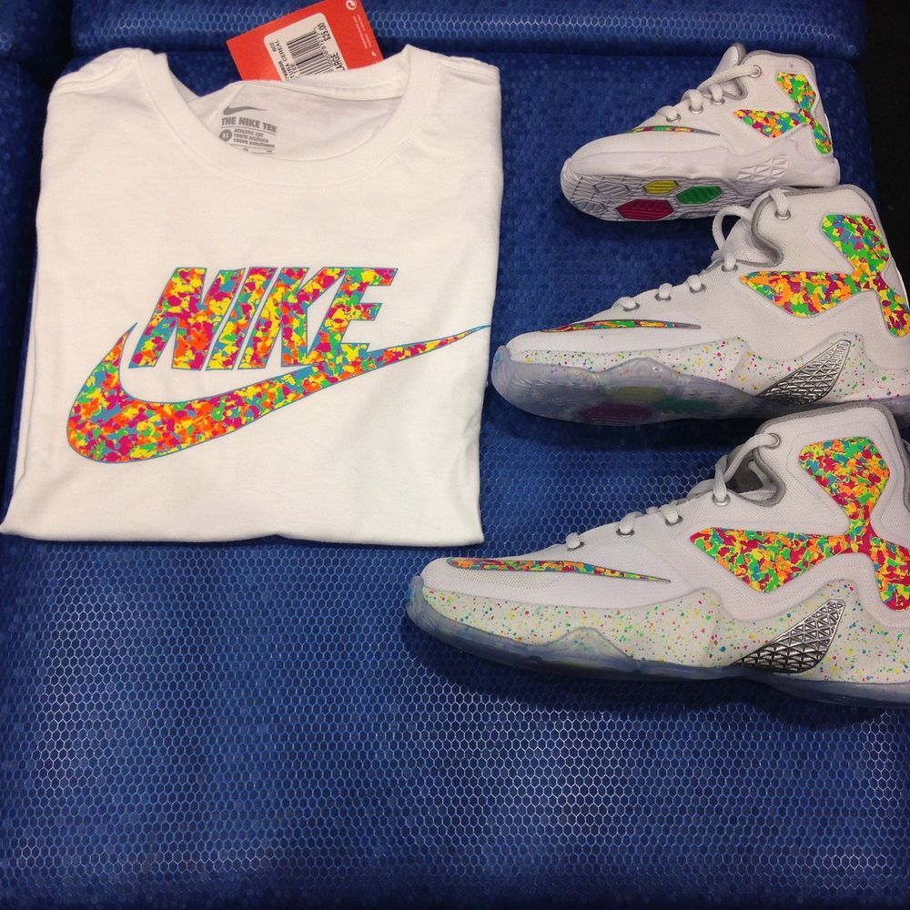 f83fddc8a937 NIKE LEBRON 13 QS  FRUITY PEBBLES  CEREAL PINK FOIL GAMMA BLUE GS SIZES  4Y-7Y  Nike  Athletic