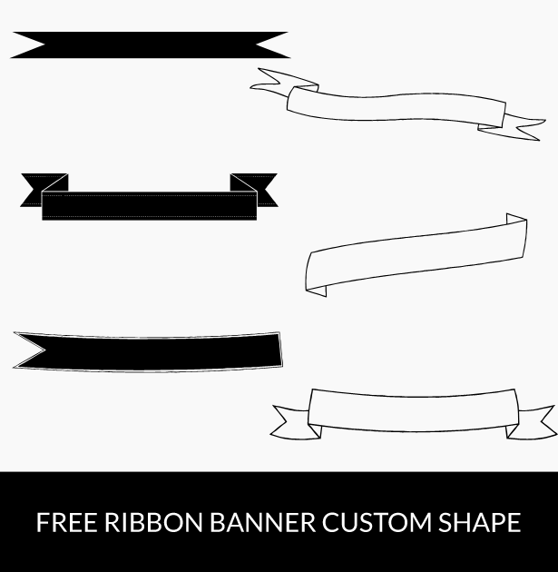 Free Download Ribbon Banner Custom Shapes Photoshop Freebies