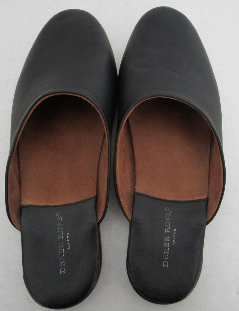 1615a629b5336 Derek Rose London Men s Size 11 Leather Morgan Slippers House Shoes Open  Back  fashion