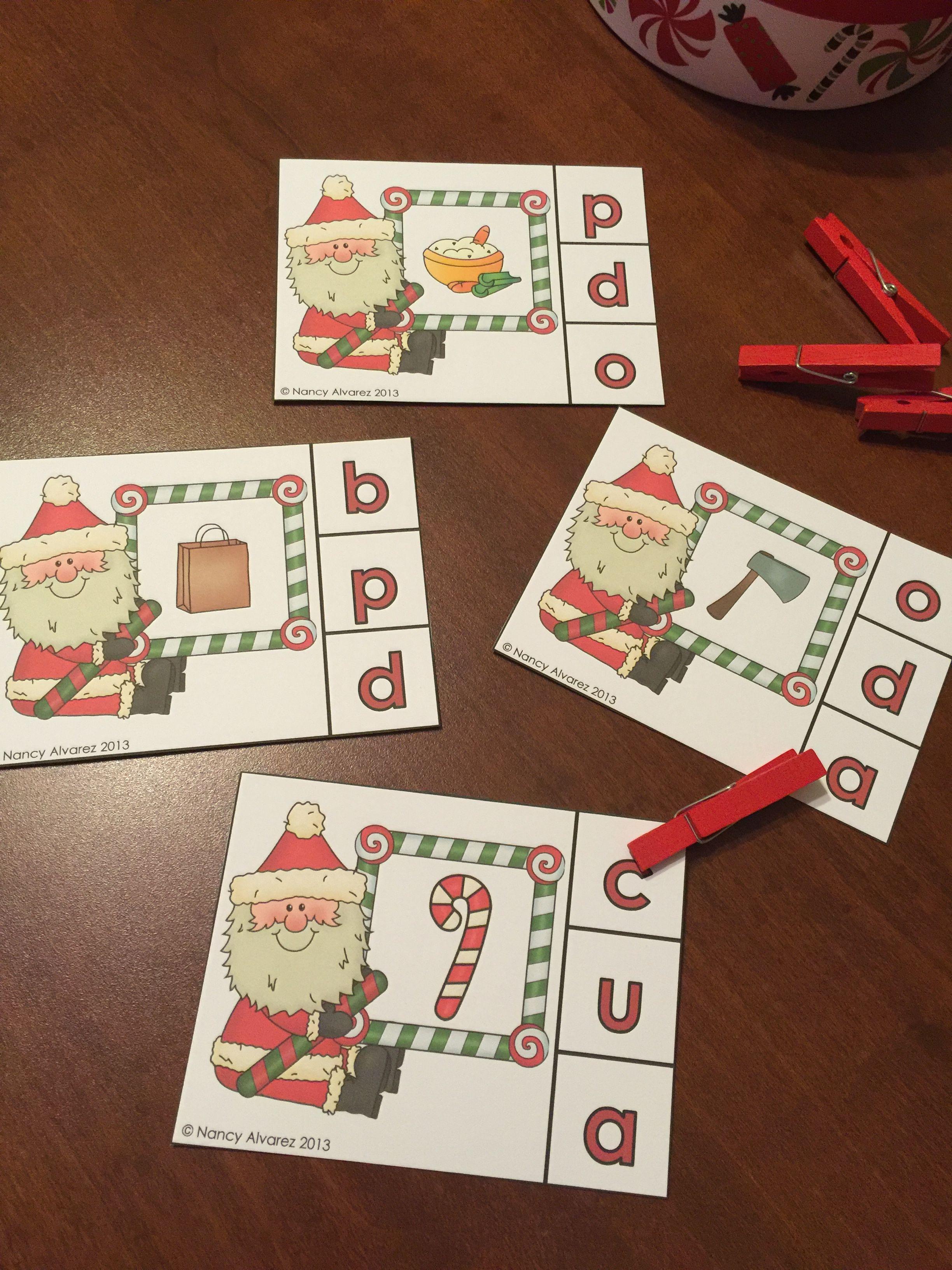 Santa Initial Sounds Clip Cards