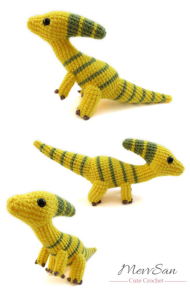 Amigurumi Parasaurolophus Dinosaur pattern by Mevlinn Gusick ...