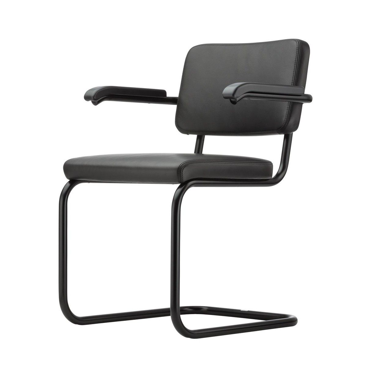 Freischwinger Stühle Mit Armlehne thonet s 64 freischwinger stuhl black white schwarz leder nero