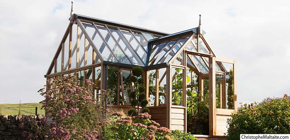 Serre en c dre portico garden greenhouse pinterest - Serre de jardin fer forge ...