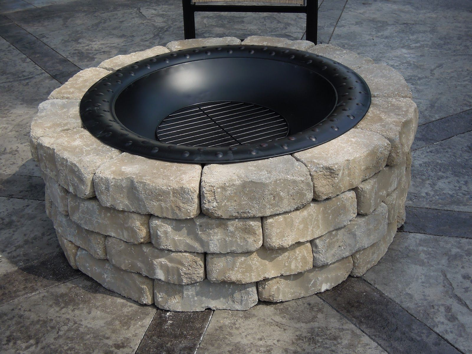 Amazing Fire Pit Bricks Lowes Part - 8: Immaculate White Stone Fire Pit Ring On Cement Pavers Backyards As Decorate  Custom DIY Fire Pit