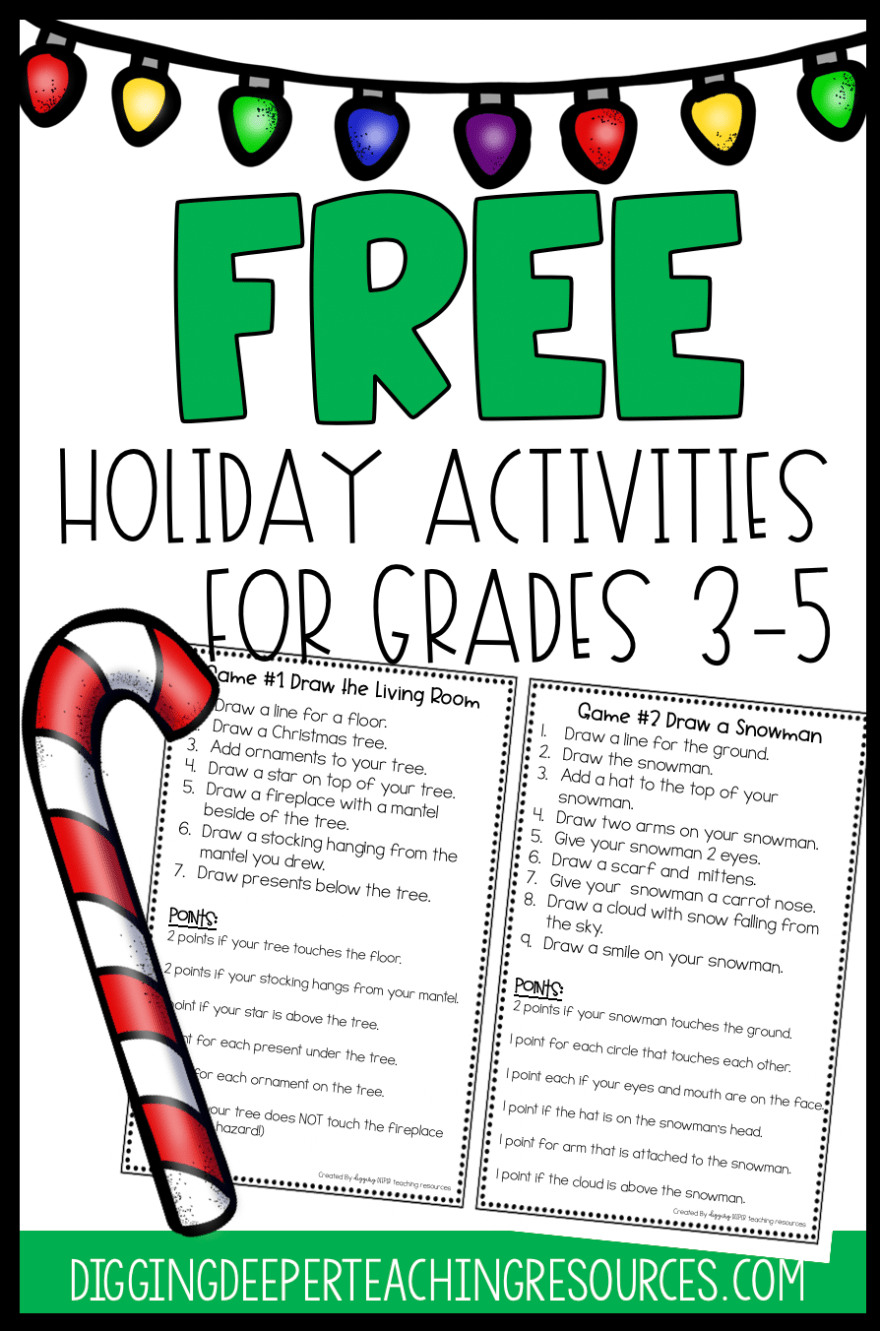 FREE Holiday Activities for Students in grades 3-5 - Digging Deeper