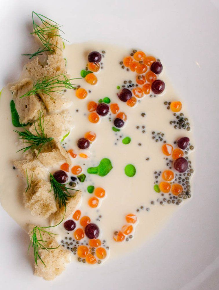 Two Caviars, Chilled Clam Chowder, Puffed Blini, Dill, Champagne Grapes | Yelp