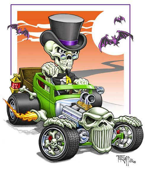 Hot Rod Cartoon I Did Some Time Ago Pen Ink Colored Using Photoshop Cool Car Drawings Art Cars Rockabilly Art