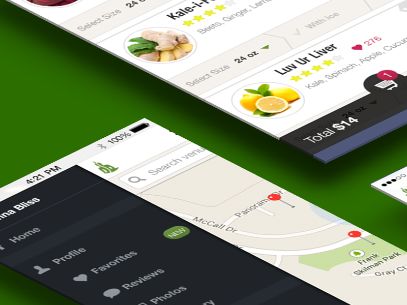An app to help users quickly order some healthy drink on-the-go without queueing for long.